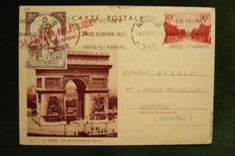 Vignette La Minerve Sur Entier CP 90c Arc De Triomphe Etoile Flamme Raid Féminin Automobile St Raphael 26/5/37 - Commemorative Labels