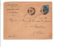 SAGE SUR LETTRE A EN TETE DE VIERZON CHZER DU 1/5/1887 - Marcofilia (sobres)