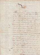 """DOCUMENT : """" SAINTES """" . 15/07/1815 . DESTINE AU ROI LOUIS XVIII . ECRITE ET SIGNE DE LA 1ère COMPAGNIE DE VOLONTAIRES . - Documents"""