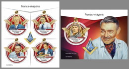 GUINEA REP. 2019 MNH Freemasons Freimaurer Francs-Macons M/S+S/S - IMPERFORATED - DH1929 - Freimaurerei