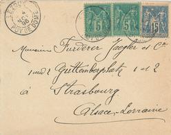Lezoux Puy De Dome Brief Nach Strassburg 1895 - 1876-1898 Sage (Type II)