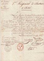 """DOCUMENT : DE """" LIBOURNE """" . ENTETE DU 5 ème REGIMENT DE CHASSEURS A CHEVAL . 12/1815 . - Documents"""