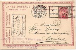 SH0007 - EP 56 Obl. Mécanique GENT 1 - 20.VII.1920 Vers Etterbeek (Bruxelles). TB. RR - Cartoline [1909-34]