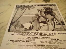 ANCIENNE PUBLICITE CROISIERE FABRE ETE 1929 - Bateaux