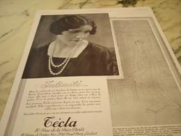 ANCIENNE PUBLICITE INTIMITE PERLE CREATION TECLA 1929 - Jewels & Clocks