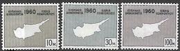 Cyprus   1960  Sc#198-200  Independence Set MNH  2016 Scott Value $3.25 - Unused Stamps