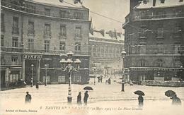 44 NANTES SOUS LA NEIGE (30 Mars 1915) - La Place Graslin - Nantes