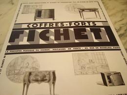 ANCIENNE PUBLICITE COFFRE FORT FICHET 1929 - Non Classificati