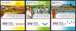 ISRAEL 2019 - Tourism In Israel - Birds - Camels - Rivers - Christianity - 3 Stamps With Tabs - MNH - Holidays & Tourism