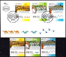 ISRAEL 2019 - Tourism In Israel - Birds - Camels - Rivers - Christianity - 3 Stamps With Tabs - MNH & FDC - Holidays & Tourism