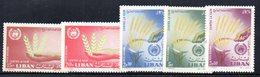 APR1880 - LIBANO 1963 , Posta Aerea Serie Yvert N. 275/279  ***  (2380A)  FAME - Libano
