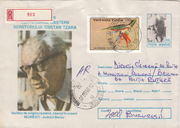 FAMOUS PEOPLE, WRITERS, TRISTAN TZARA, REGISTERED COVER STATIONERY, 1996, ROMANIA - Writers