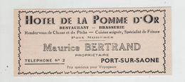 Publicité 1937  Bertrand Hôtel De La Pomme D'Or Restaurant Brasserie Port Sur Saône - Publicités