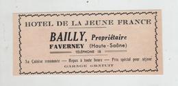 Publicité 1937  Hôtel De La Jeune France Bailly Faverney - Publicités