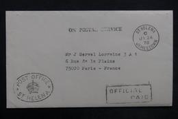 SAINTE HÉLÈNE - Enveloppe De La Poste De Ste Héléna Pour La France En 1978 - L 35193 - Sainte-Hélène