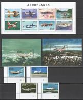 V754 MALDIVES TRANSPORT AVIATION AIRPLANES AEROPLANES !!! 1KB+2BL+1SET MNH - Vliegtuigen