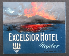 Ancienne étiquette Bagage Malle Valise EXCELSIOR HOTEL NAPLES Vésuve Volcan Old Original Luggage Label - Etiquettes D'hotels