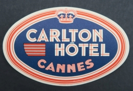Ancienne étiquette Bagage Malle Valise CARLTON HOTEL CANNES Old Original Luggage Label - Etiquettes D'hotels