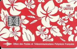 CARTE-PUCE-POLYNESIE-PF19-150U-SC5-S/Entourage-PAREO ROUGE Mat-5 Embouti 00477-1/0Envers-Le 2e-UTILISE-TBE- - Polynésie Française