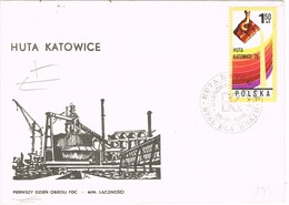 33472. Carta HUTA KATOWICE (polska) Polonia 1976. Cuenca Minera, MINERIA. Stamp Hierro - Cartas