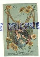Le Coeur. Couple, Coeur, Cordon Doré, Fleurs. 1909. Gaufrée - Couples