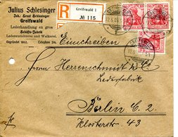 62   Allemagne -  GREIFSWALD  à  BERLIN  - De Julius SCHLESINGER - ENVELOPPE RECOMMANDEE - 1906    3 TIMBRES - Germany