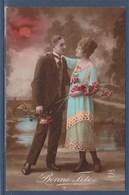 = Carte Postale Bonne Fête, Couple Avec Fleurs, Adressé Pour Des Souhaits De Ste. Catherine - Autres