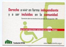 FUNDACION VITRA, DERECHOS RESPETO INCLUSION RESPECT INCLUSION - POSTAL PUBLICIDAD ARGENTINA CIRCA 2000 - LILHU - Publicidad