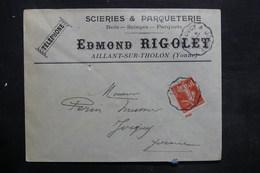 FRANCE - Enveloppe Commerciale De Aillant Sur Tholon Pour Joigny En 1908 - L 35225 - Marcophilie (Lettres)