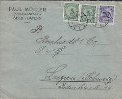 Germany Deutsches Reich PAUL MÜLLER Porzellanfabrik SELB I. Bayern 1924 Cover Brief LUZERN Switzerland - Deutschland