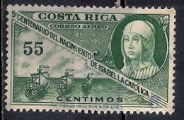 Costa Rica 1952 - Airmail - The 500th Anniversary Of Isabella The Catholic - Costa Rica