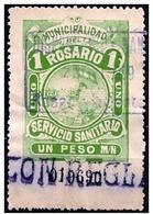 Argentina: Francobollo Fiscale, Fiscal Stamp, Timbre De Service. Questo Francobollo Fiscale, Usato Nella Città Di Rosari - Medicina