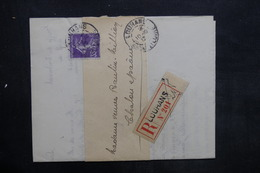 FRANCE - Lettre En Recommandé De Louhans Pour Chalons En 1913 , Affranchissement Semeuse - L 35232 - Marcophilie (Lettres)