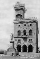 Cartolina Repubblica Di San Marino Statua Libertà 1955 Francobolli Al Retro - San Marino