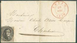 N°3 - Médaillon 10 Centimes Brun, Bien Margé, Obl. P.117 Sur Lettre De THUIN Le 20 Déc. 1850 Vers Charleroi. Belle Fraîc - 1849-1850 Medaillen (3/5)