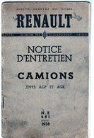 Livre - Renault Notice D'entretien Camions Types AGP Et AGR - N. E 481 Juillet 1938 - - Trucks