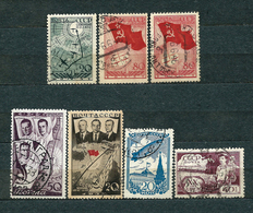 USSR, 1938; Lot Of 7 Used Stamps: Air Mail MiNr 585, 587, 596 And 601, 640, 654 - 1923-1991 URSS