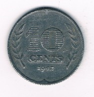 10 CENTS  1942 NEDERLAND /5446/ - [ 3] 1815-…: Königreich Der Niederlande