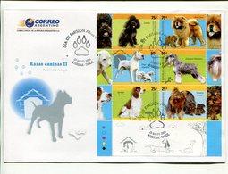 RAZAS CANINCAS II, PERROS DOGS CHIENS. ARGENTINA AÑO 2005 SOBRE PRIMER DIA ENVELOPE FDC - LILHU - Perros