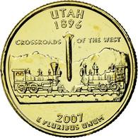 Monnaie, États-Unis, Utah, Quarter, 2007, Golden, SUP, Copper-nickel - 1999-2009: State Quarters