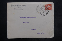 FRANCE - Enveloppe Commerciale ( Vins Du Beaujolais ) Pour Beaune En 1914 - L 35235 - Marcophilie (Lettres)