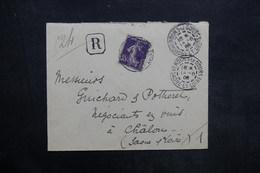 FRANCE - Enveloppe En Recommandé De Verdun Le Doubs Pour Chalon En 1908 , Affranchissement Semeuse - L 35236 - Marcophilie (Lettres)