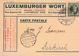 Luxembourg. Geschäftskarte Luxemburger Wort 1926 (4.348) - Covers & Documents