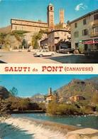 """4715""""SALUTI DA PONT (CANAVESE)""""2 VEDUTE-DISTRIBUTORE AGIP-PUBBLICITA'CINZANO-LAVAZZA-AUTO '60 -CART. POST. OR. NON SPED. - Saluti Da.../ Gruss Aus..."""