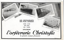 1927 Les Restaurants Les Plus Luxueux Utilisent L'orfèvrerie Christofle Avion Restaurant, Paquebot Ile De France, Train - Publicités