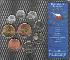 0064 - 'DERNIERES MONNAIES EN EUROPE' Rép Tchèque - 9 Pièces : 10 Haleru à 50 Couronnes - Repubblica Ceca