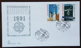 Saint Marin - FDC 1991 - YT N°1264, 1265 - EUROPA / L'EUROPE ET L'ESPACE - FDC