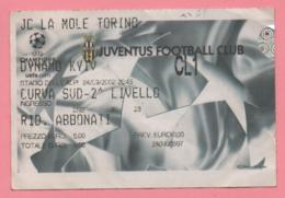 Biglietto Ingresso Stadio Juventus 2002 - Tickets - Entradas