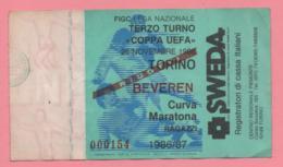 Biglietto Ingresso Stadio Torino Beveren 1986 - Eintrittskarten