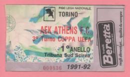 Biglietto Ingresso Stadio Torino Aek Athens 1992 - Tickets - Entradas